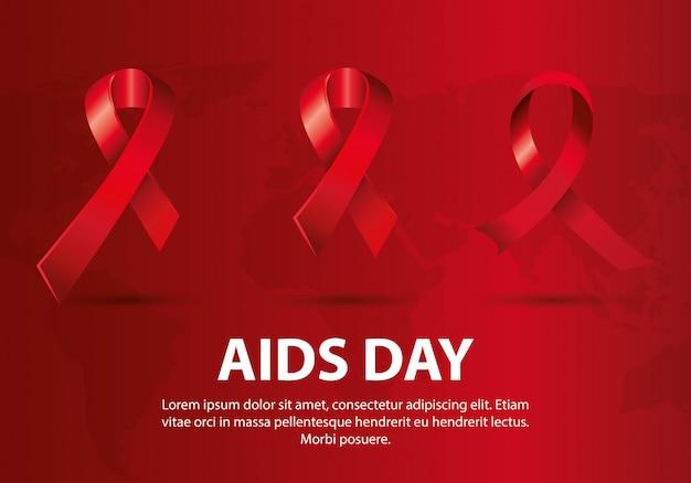 Dia mundial del sida con cintas