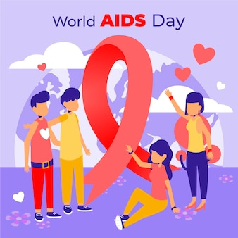 Día mundial del sida en diseño plano