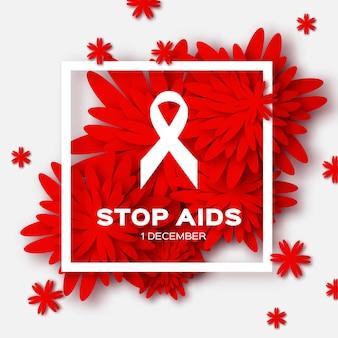Día mundial del sida en el fondo rojo de origami. conciencia.