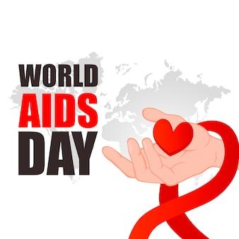 Día mundial del sida. de la mano con el corazón rojo.