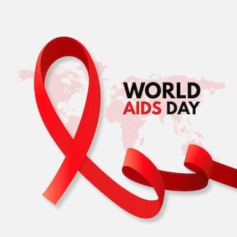 Día mundial del sida con mapa y cinta roja.