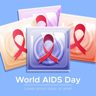 Día mundial del sida plano - concepto