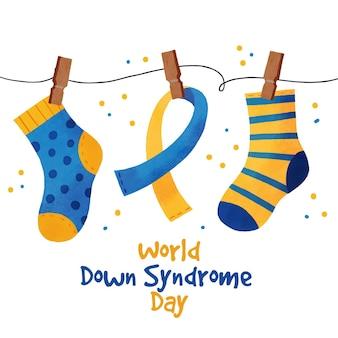 Día mundial del síndrome de down en acuarela