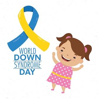Día mundial del síndrome de down con campaña de cinta y niña.