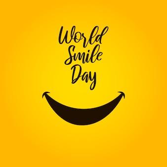Día mundial de la sonrisa sobre fondo amarillo.