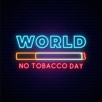 Día mundial sin tabaco letrero de neón.