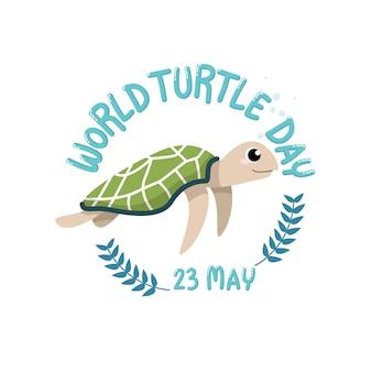 Día mundial de la tortuga, 23 de mayo. caricatura de una linda tortuga con texto, día mundial de la tortuga, 23 de mayo en círculo
