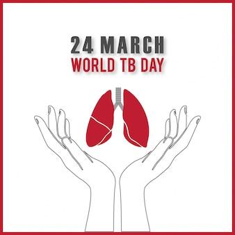 Día mundial de la tuberculosis, fondo con los pulmones sobre las  manos