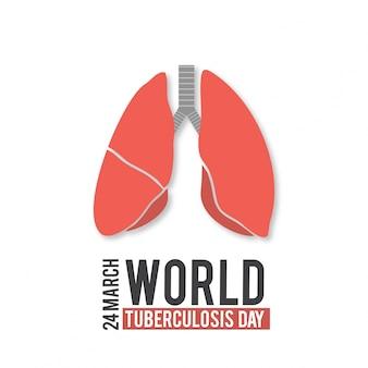Día mundial de la tuberculosis,  los pulmones sobre fondo blanco