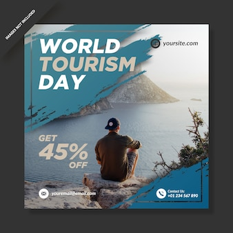 Día mundial del turismo banner redes sociales publicación de instagram