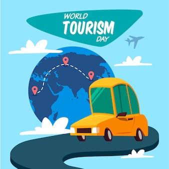 Día mundial del turismo con coche en la carretera.
