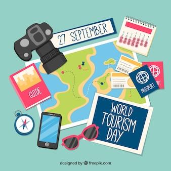 Día mundial del turismo, elementos sobre un mapa