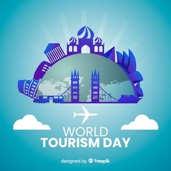 Día mundial del turismo con gradiente de puntos de referencia