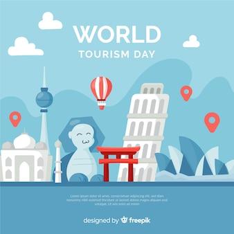 Día mundial del turismo plano con puntos de referencia y transporte