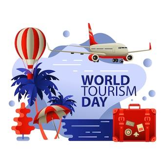 Día mundial del turismo plano