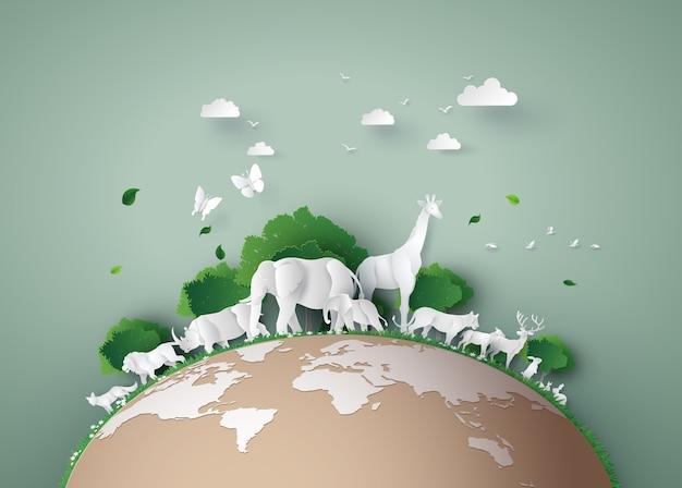 Día mundial de la vida silvestre con el animal en el bosque, el arte del papel y el estilo de arte digital.