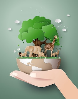 Día mundial de la vida silvestre con el animal en el bosque.