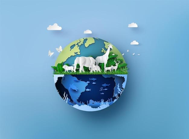 Día mundial de la vida silvestre con los animales, el arte en papel y el estilo de artesanía digital.