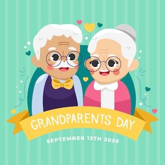 Día nacional de los abuelos con la pareja de ancianos