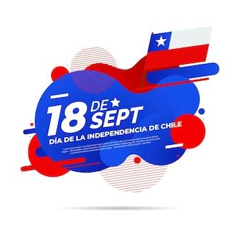 Día nacional de chile efecto líquido y bandera