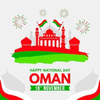 Día nacional plano de omán con banderas