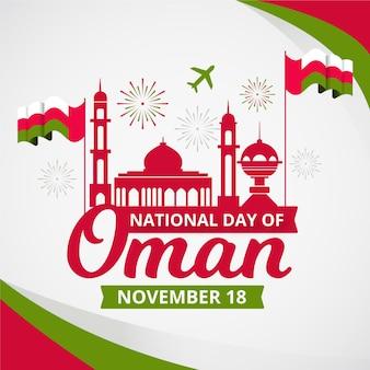 Día nacional plano de omán con fuegos artificiales.
