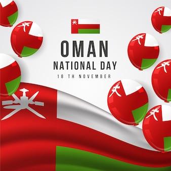 Día nacional realista de omán con globos.