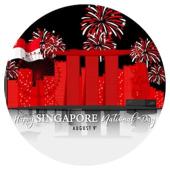 Día nacional de singapur con marina bay sands singapur y fuegos artificiales