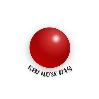 Día de la nariz roja sobre fondo blanco aislado