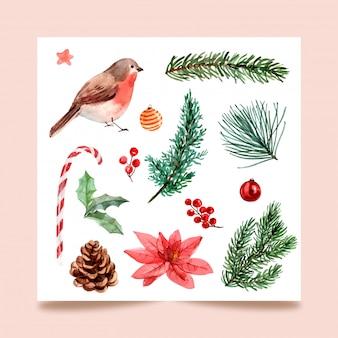 Día de navidad, aislar la pintura de acuarela para tarjetas de felicitación, postales, carteles