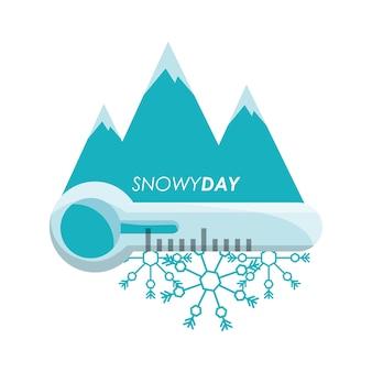 Día nevado y termómetro del clima y clima tema