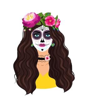Día de la niña muerta. maquillaje de cabeza de azúcar de mujer para fiesta mexicana