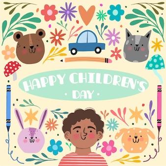 Día del niño dibujado a mano y animales lindos.