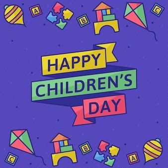 Día del niño en diseño plano.