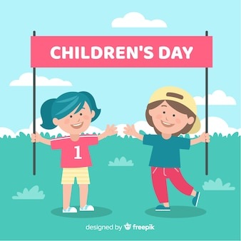 Día del niño plano con fondo infantil