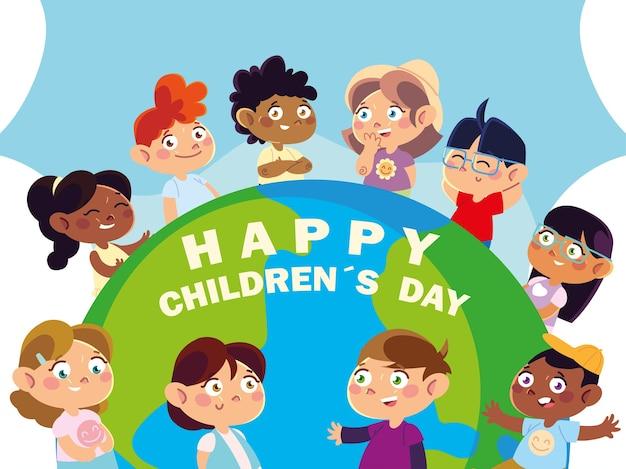 Día del niño, tarjeta de felicitación con niños felices y mundo.