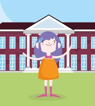 Día de los niños, niña, estudiante, frente, edificio de la escuela