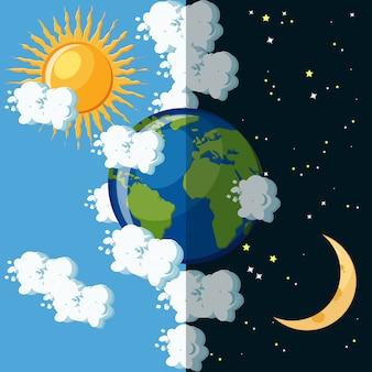 Día y noche en el concepto de planeta tierra.
