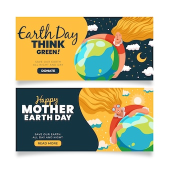 Día y noche madre protegiendo la bandera de la tierra