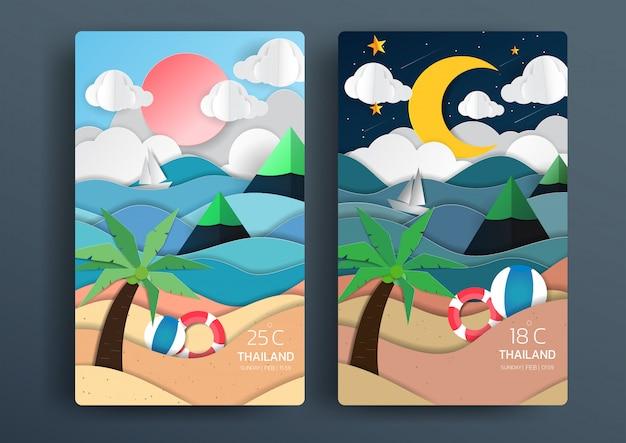 Día y noche paisaje de naturaleza con estilo de arte en papel