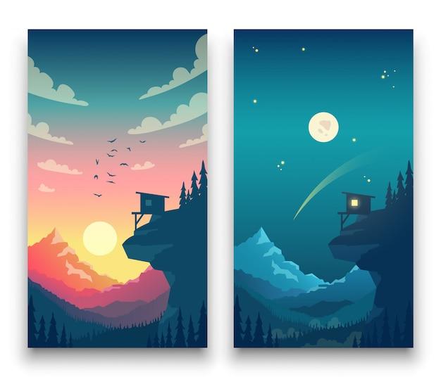 Día y noche vector plano paisaje de montaña con luna, sol y nubes en el cielo. concepto de vector para la aplicación del tiempo. ilustración de día y noche de naturaleza de paisaje