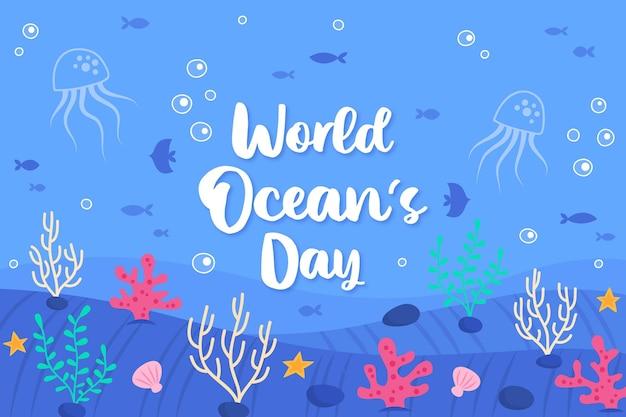 Día de los océanos dibujados a mano de vida submarina
