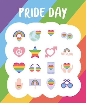 Día del orgullo y conjunto de iconos de estilo lgtbi