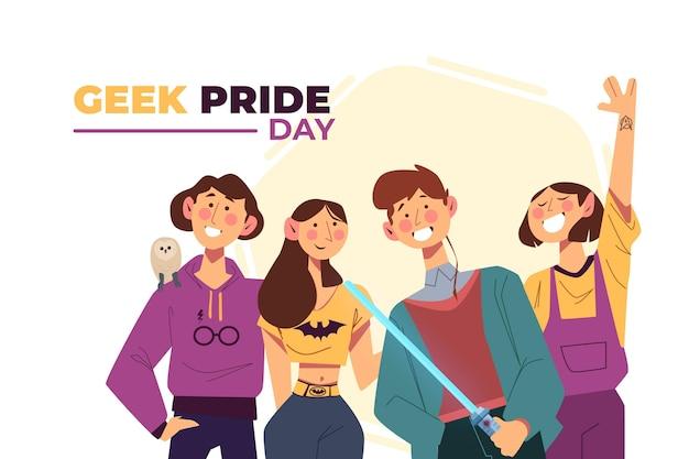 Día del orgullo geek hombres y mujeres