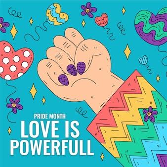 Día del orgullo puño fuerte y ropa colorida