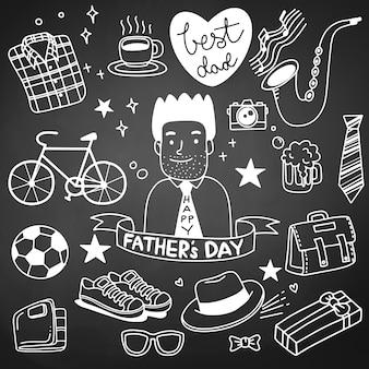 Dia del padre. colección de dibujos a mano de accesorios masculinos.