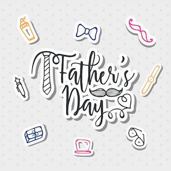 Día de padre con estilo del texto con los artículos de uso general de los hombres garabatean en fondo gris.