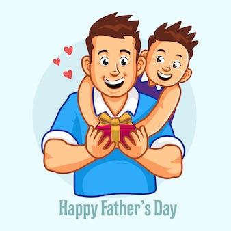 Dia del padre. padre e hijo. el hijo le está dando un regalo al padre.