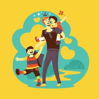El día del padre papá y niños jugando