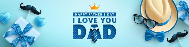Día del padre con sombrero, corbata y caja de regalo sobre fondo azul. saludos y regalos para el día del padre